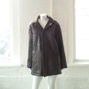 J.Crew Brown Leather Faux Shearling Jacket